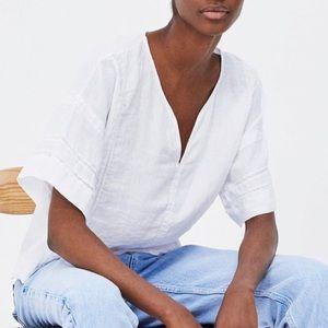 Zara white bell sleeve tunic top